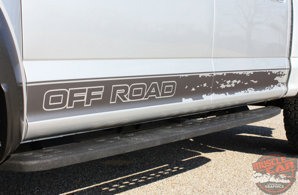 Close-up View of silver 2019 Ford F150 Raptor Side Decals VELOCITOR ROCKER 2018-2020