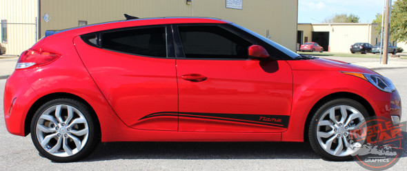 Side View of Hyundai Veloster Rocker Stripes STRIKE 2011-2018