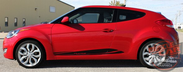 Side View of Hyundai Veloster Decals MENTUM 2011-2016 2017 2018