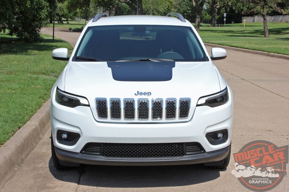 Front View of 2019 Jeep Cherokee Hood Decals T-HAWK HOOD 2014-2020 2021