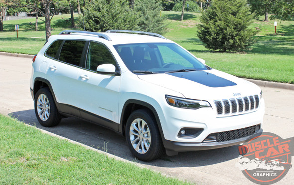 Front View of 2019 Jeep Cherokee Hood Stripes T-HAWK HOOD 2014-2020 2021
