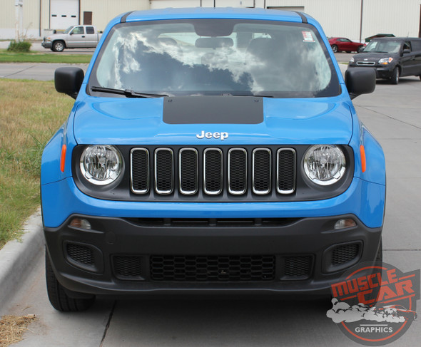 Front View of Jeep Renegade Hood Decals RENEGADE HOOD 2014-2019 2020 2021