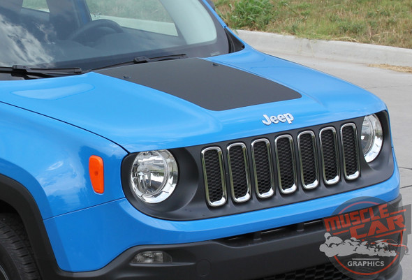 Front View of 2016 Jeep Renegade Hood Decal RENEGADE HOOD 2014-2020