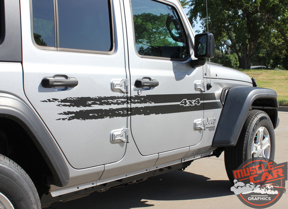 Side View of 2017 Jeep Wrangler Decals HAVOC SIDE KIT 2018-2020 2021
