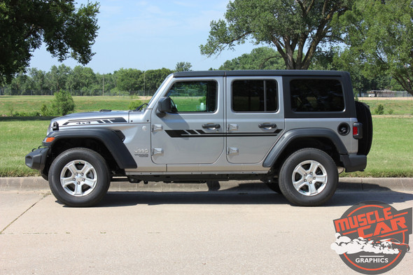 Side View of 2019 Jeep Wrangler Decals BYPASS and ACCENTS 2018-2020