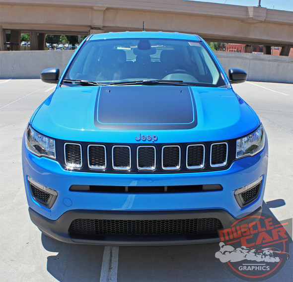 Front view of 2019 Jeep Compass Hood Decal BEARING HOOD 2017-2020