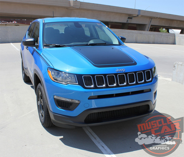 Front view of 2018 Jeep Compass Hood Graphics BEARING HOOD 2017-2020 2021
