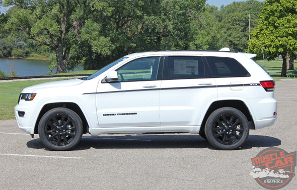 Side View of White 2019 Jeep Grand Cherokee Side Stripes PATHWAY 2011-2020
