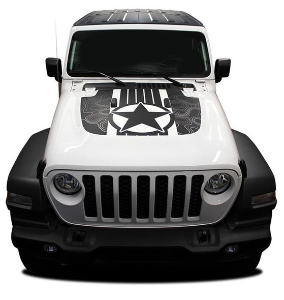 Front of white JOURNEY HOOD : 2020-2021 Jeep Gladiator Hood Star Digital and Decals Vinyl Graphics Stripe Kit