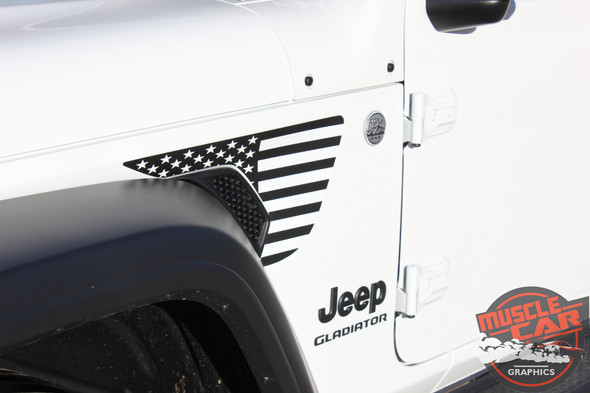 Side of white PATRIOT : Jeep Gladiator Side Vent Star Vinyl Graphics Decal Stripe Kit for 2020-2021