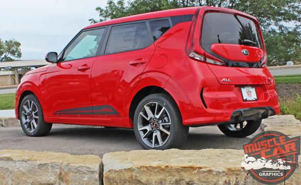 Side View of Red 2020 Kia Soul Side Door Stripes SOULED ROCKER