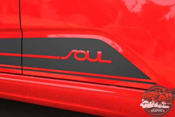 Side View of Red 2020 Kia Soul Side Stripes SOULED ROCKER