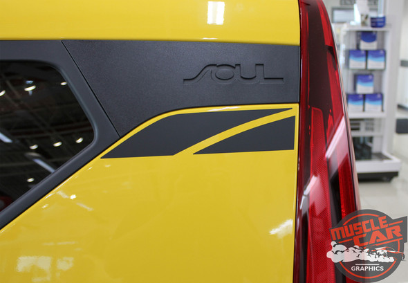 Front angle of Yellow 2020 Kia Soul Side Decals OVERSOUL