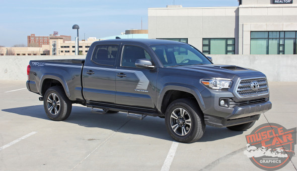 Front angle view of 2019 Toyota Tacoma Side Door Stripes STORM 2015-2020