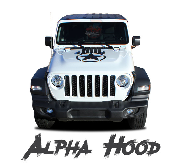 Jeep Gladiator ALPHA Hood Star Vinyl Graphics Decals Stripe Kit for 2020-2021 Models
