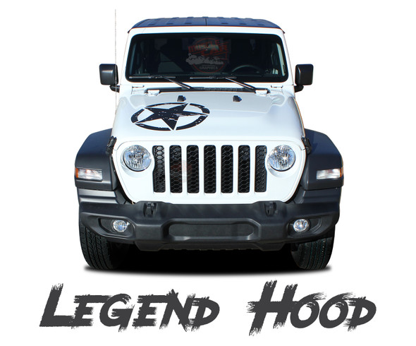 Jeep Gladiator LEGEND Hood Star Vinyl Graphics Decals Stripe Kit for 2020-2021 Models
