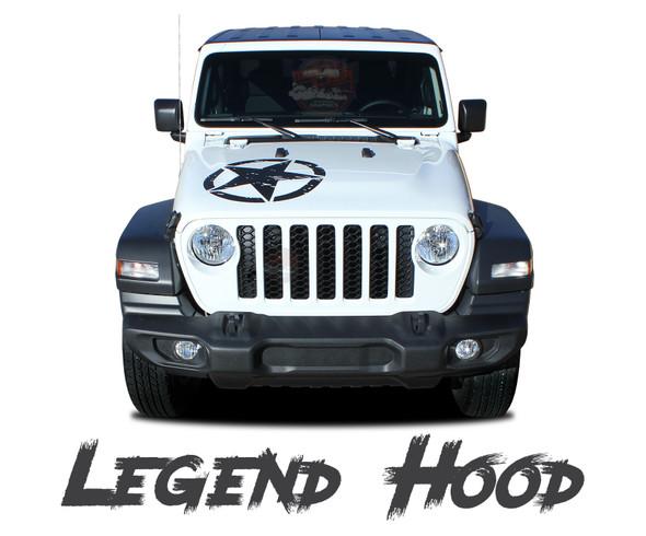 Jeep Gladiator LEGEND Hood Star Vinyl Graphics Decals Stripe Kit for 2020-2021 Models
