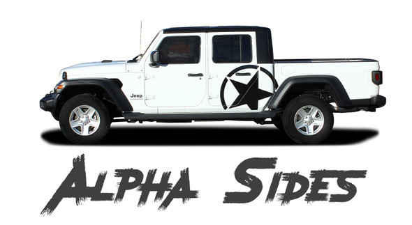 Jeep Gladiator ALPHA Side Body Star Vinyl Graphics Decal Stripe Kit for 2020-2021 Models