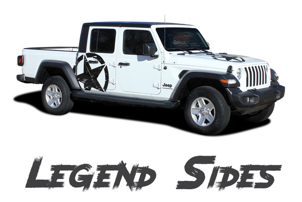 Jeep Gladiator LEGEND Side Body Star Vinyl Graphics Decal Stripe Kit for 2020-2021 Models