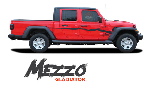 Jeep Gladiator MEZZO Side Door Body Vinyl Graphics Decal Stripe Kit for 2020-2021 Models