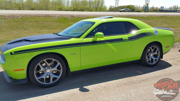 Side View of Green 2017 Dodge Challenger RT Stripes DUEL 15 2015-2019 2020