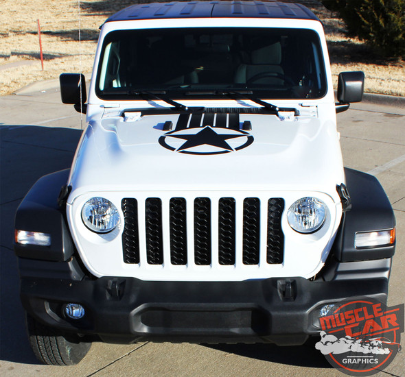 Front Hood of White Gladiator ALPHA STAR HOOD : 2020 Jeep Gladiator Hood Stripes Kit 2020-2021