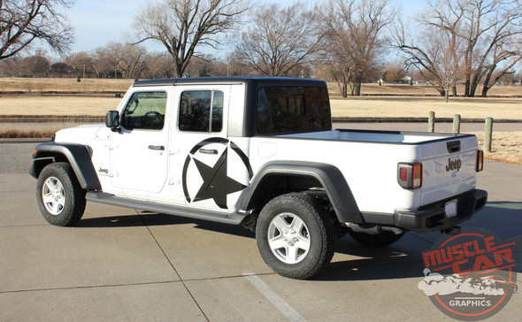 Side of White Gladiator ALPHA STAR SIDE : 2020 Jeep Gladiator Side Stripes Kit 2020-2021