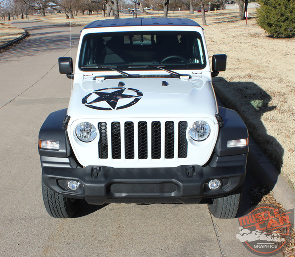 Hood of White Jeep Gladiator - LEGEND HOOD KIT : 2020-2021 Jeep Gladiator Hood Decals Package