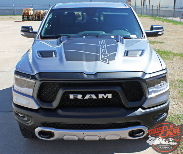 Front View of Silver 2019 Ram Rebel Hood Stripes REB HOOD 2019-2021