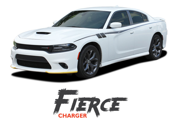 Dodge Charger FIERCE Side Body Vinyl Graphic Decals and Stripe Kit for 2015 2016 2017 2018 2019 2020 2021
