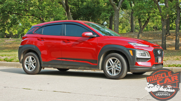 Side of Red Hyundai Kona Stripes SPIRE KIT 2020-2021 Premium Products!