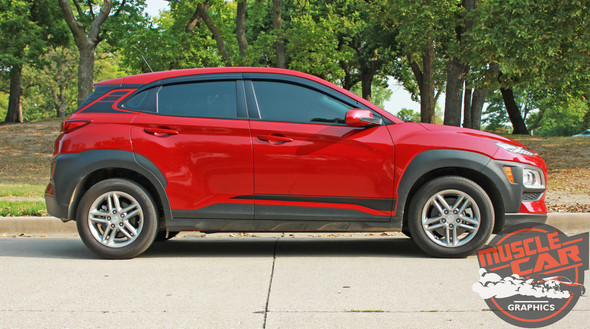Pofile of Red Hyundai Kona Stripes SPIRE KIT 2020-2021 Premium Products!