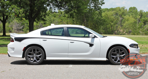 Side Profile View of 2015-2021 Dodge Charger Body Line Stripes RILED SIDE KIT