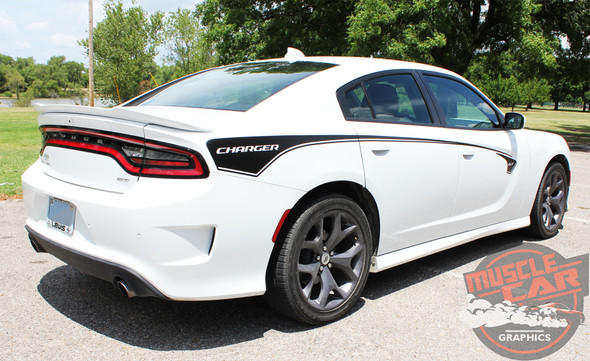 Side Angle of 2019 Dodge Charger Body Line Stripes RILED SIDE KIT 2015-2021