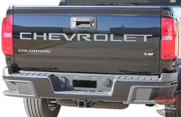 Chevy Colorado Rear TAILGATE LETTERS Accent Decals Vinyl Graphic Stripe Kit fits 2021