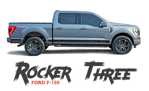 2021 Ford F-150 ROCKER THREE Lower Door Rocker Panel Body Stripes Vinyl Graphic Decals Kit fits 2021
