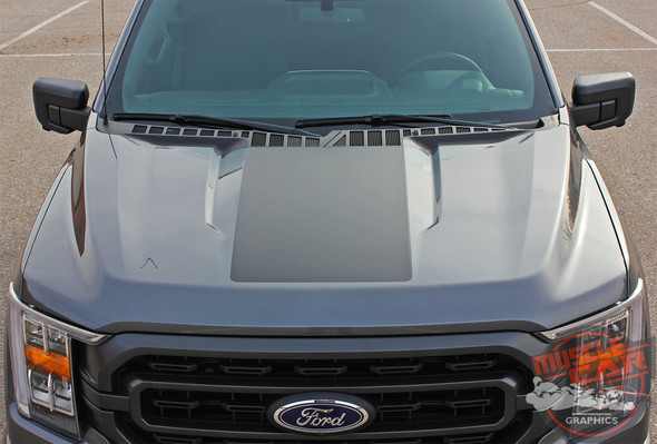 Top View of 2021 Ford F150 Truck Hood Stripes Package SWAY HOOD for 2021+