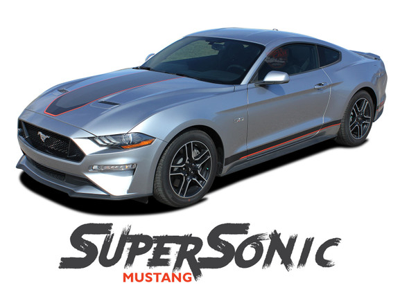 Ford Mustang Mach 1 Racing Stripes SUPERSONIC DIGITAL Center Hood Trunk Rally Stripes Vinyl Graphics Decals Kit 2018 2019 2020 2021