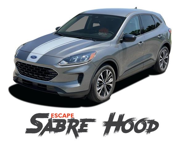 Ford Escape SABRE Center Hood Vinyl Graphics Decal Stripe Kit for 2020 2021