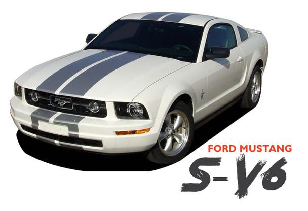 Ford Mustang V6 WILDSTANG S-V6 Lemans GT500 Style 10 inch Wide Vinyl Hood Racing Stripe Kit 2005 2006 2007 2008 2009