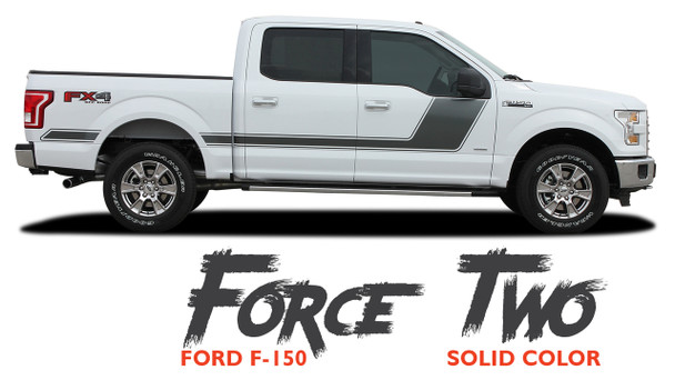 Ford F-150 FORCE TWO Appearance Package Hockey Side Door Vinyl Graphic Decal Kit for 2009-2014 or 2015 2016 2017 2018 2019 2020