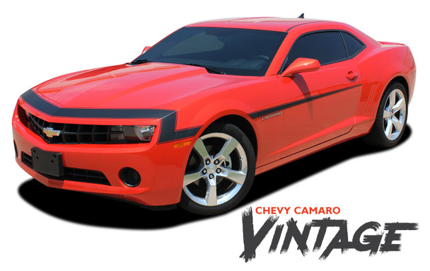 Chevy Camaro VINTAGE Front Fascia to Side Fender Door Vinyl Graphics Stripe Decal Kit for 2010 2011 2012 2013 Models