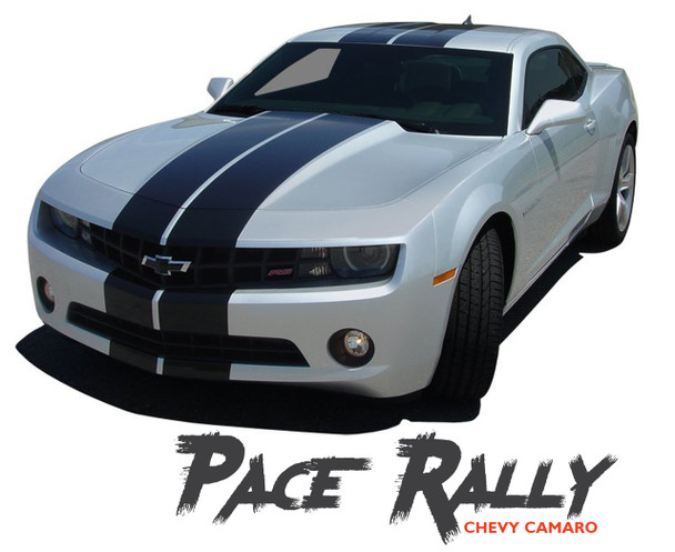 Chevy Camaro PACE RALLY Indy Racing Stripes 10 Inch Bumper Hood Roof Trunk Vinyl Graphics Decal Kit fits 2010 2011 2012 2013 Models