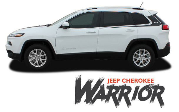 Jeep Cherokee WARRIOR Upper Body Line Door Accent Vinyl Graphics Decal Stripe Kit for 2013 2014 2015 2016 2017 2018 2019 2020 2021