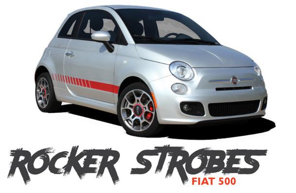 Fiat 500 SE5 ROCKER STROBES Lower Body Door Accent Abarth Vinyl Graphics Stripes Decals Kit for 2007-2018 Models