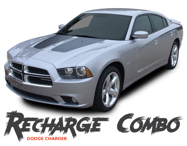 Dodge Charger RECHARGE COMBO Vinyl Graphics Hood Decal and Quarter Panel Body Accent Stripe Kit for 2011 2012 2013 2014 Models