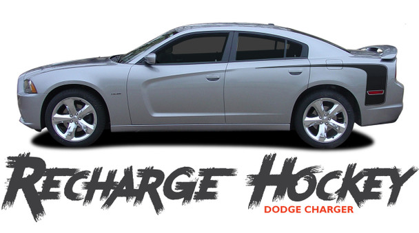 Dodge Charger RECHARGE HOCKEY Rear Quarter Panel Extended Body Vinyl Graphic Decal Striping Kit for 2011 2012 2013 2014 Models