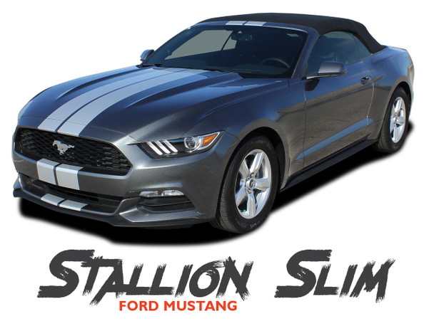 Ford Mustang STALLION SLIM Lemans 7 inch Wide Hood Roof Trunk Racing Rally Stripes Vinyl Graphics Decals Kit 2015 2016 2017