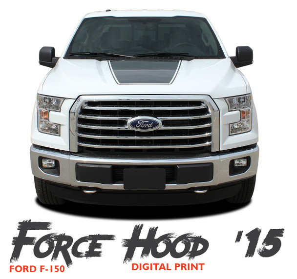 Ford F-150 FORCE HOOD 15 DIGITAL Appearance Package Center Wide Hood Vinyl Graphic Decal Kit for 2015 2016 2017 2018 2019 2020
