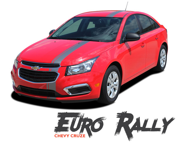 Chevy Cruze EURO RALLY Euro Offset Hood Rally Racing Stripes Vinyl Graphics Decals Kit 2011 2012 2013 2014 2015 2016
